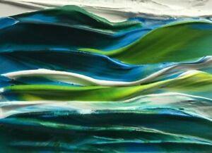 "TROPICAL BLUE SEASCAPE Acrylic ACEO Ocean Painting 2.5""x 3.5"" Julia Garcia NEW"