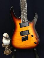 4/4 Haze Flame Sunburst Fanned Frets 6-String Electric Guitar+Free Gig Bag,Picks