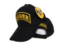 Army Ranger Gold Letters Embroidered Black Baseball Hat Cap Cover