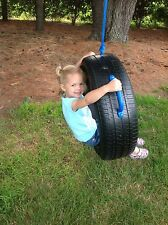 One Tire Swing made from real recycled Tire with Blue Rope & Handles