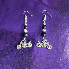 Motorcycle Themed Beaded Black & Silver Dangling Charm Earrings NEW