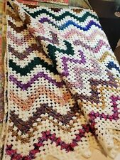 Crochet Afghan Bedspread Blanket Colorful Hand Made Boho Soft Queen Size Throw