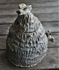 LOVELY BEEHIVE SHAPED HONEY JAR WITH APPLIED BEES