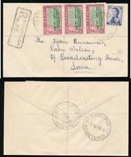 FIJI 1957 REGISTERED NANUKULOA HANDSTAMP INTERNAL 8 1/2d to BROADCASTING HOUSE