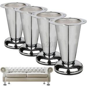 1-4Pack 4'' Sofa Legs Chrome Feet Taper Furniture Chair Footstool Bed  P
