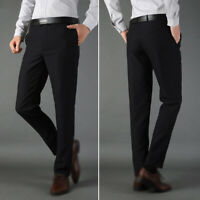 Men Casual Slim Fit Skinny Business Formal Suit Dress Pants Slacks Trousers Plus