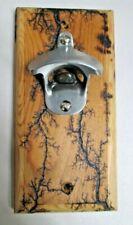 """Beer Bottle Opener Reclaimed Pine Wood Lichtenberg Fractal Burn Gift 4""""X8"""""""