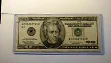 $20.00 Federal Reserve Note Low Serial Number AC 00007763 D