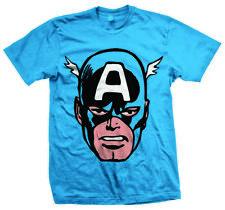 Captain America Big Head Men's T-shirt Blue XXL