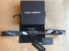 DOLCE & GABBANA REVERSIBLE BLACK DISTRESSED & PAINTED LEATHER BELT S M 100 CM 40
