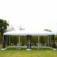 10'x20' Pop Up Party Tent Gazebo Wedding Canopy w/ 6 Mesh Sidewalls Carry Bag