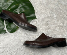Clarks Slip On Open Back Brown Leather Shoes 9M