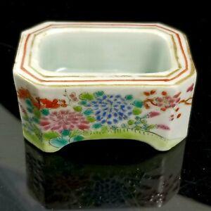 Antique Famille Rose Trencher Salt Cellar Qing Porcelain 19th C