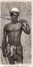 PECHEUR INDIGENE NATIVE FISHERMAN CALEDONIE CALEDONIA IMAGE 1867 OLD PRINT