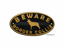 Border Collie & Motif Beware Of The Dog Sign - House Garden Plaque - Black/Gold