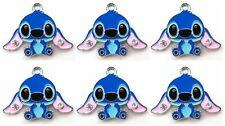 New 16 pcs blue Stitch blue Metal Charms pendants DIY Jewellery Making crafts