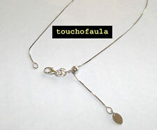 """14K White gold box chain with adjustable bead 18"""" Made in Italy."""