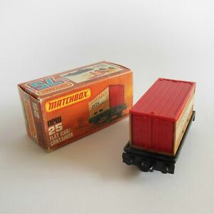 Matchbox Superfast 25 g Flat Car Container Train Wagon in Excellent Original Box