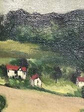 Vintage Oil On Canvas Victorian Wood Frame Exhibition Tag 1949 Swedish Amer