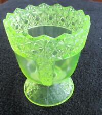 "MCKEE VASELINE GLASS 1894 PANELED DAISY & BUTTON SPOONER 5"" TALL"