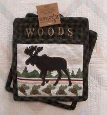 Moose Potholders Pocket Mitts Kay Dee Woodland Moose Pattern