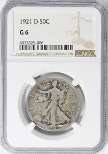 🤩 🔑 1921-D Walking Liberty Half Dollar Silver NGC G6 G+ Denver 50c Good KM#142