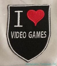 Embroidered Retro Vintage Style I Love Video Games Gamer Black Patch Iron On USA