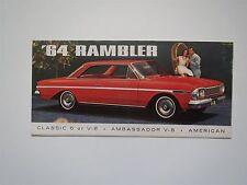 1964 AMC RAMBLER CLASSIC 6 V-8 AMBASSADOR AMERICAN DEALERSHIP SALES BROCHURE
