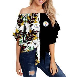 Pittsburgh Steelers  Hawaiian Womens Sexy Blouse Lady Girls off Shoulder Shirts