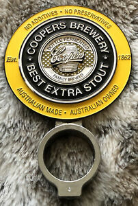 COOPERS BREWERY BEST EXTRA STOUT BEER TAP TOP / BADGE / DECAL