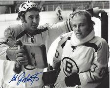 BOSTON BRUINS EDDIE JOHNSTON SIGNED 8x10 PHOTO A W/COA STANLEY CUP GOALIE