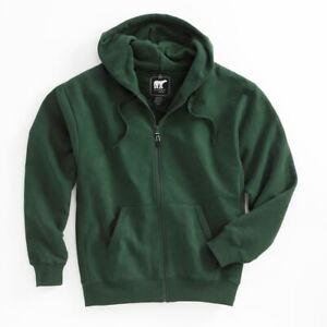 White Bear Men's Heavyweight Hooded Sweatshirt Full Zip Long Sleeve Hoodie 1200
