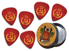 Soviet Union Hammer & Sickle Flag 6 X Logo Guitar Picks & Stash Tin (GD2)