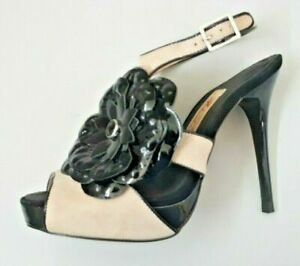 ALANNAH HILL SAND SUEDE HEELS WITH BLACK PATENT LEATHER FLOWER.  AU 5. EU 36