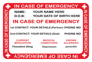 METAL WALLET CARD IN CASE OF EMERGENCY CARD PERSONALISE YOUR DETAILS WALLET CARD