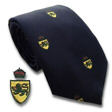 Navy Blue Tie with Gold Shield Crest with Green Lion Regiment Style Pure Silk