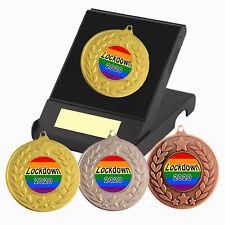 Lockdown Quiz Winner Gold Medal with Rainbow Ribbon 50mm FREE Engraving CL