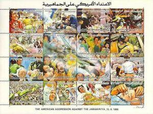 LIBYA 1986 American Aggression against Libya   - Sheet MINT (Full Set)