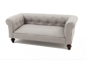 Dolls House Grey Chesterfield Sofa Miniature Gray Living Room Furniture