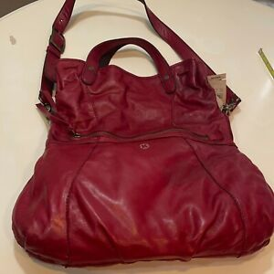 Lucky Brand Womens HKRU1350 Abbey Road Red Leather Messenger Convertible Bag