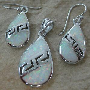 "925 STERLING SILVER Greek Design ""White Cr. OPAL"" Earrings, Pendant - GIRL WOMEN"