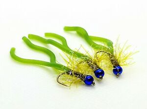 3 x Squirmy Wormy Worm Olive Green Twin Tail Trout Flies, Blue Bead Head