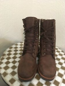 VINTAGE BLACK LABEL CHIPPEWA MADE IN USA BROWN LACE UP TRAIL BOSS BOOTS 6.5 D