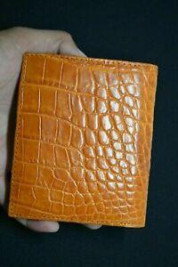 100 % Genuine Crocodile Alligator Skin Leather Bi-fold Wallet tan brown color