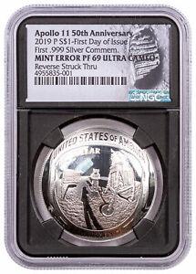 2019 P US Apollo 11 50th Silver Dollar Proof Mint Error NGC PF69 FDI BC SKU57751