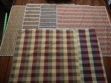 6 LARGE FABRIC SAMPLES PLAID DOUBLE SIDED PILLOWS QUILT CRAFTS REMNANT SEW