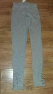 George Ladies UK Small BNWT Grey Leggings Criss Cross Ankle