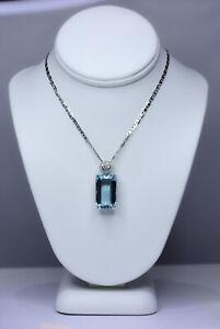 Large Emerald Cut Aquamarine Pendant Necklace 18K Gold