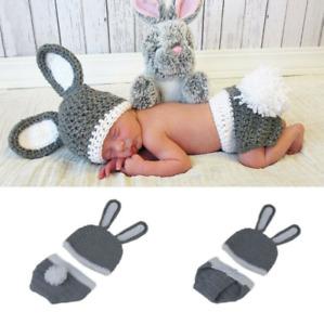 Newborn Baby Girl Boy Crochet Knit Costume Photo Photography Prop Hat & Trousers