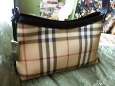 AUTHENTIC BURBERRY SMALL NOVA CHECK SHOULDER BAG WITH BLACK LEATHER TRIM
